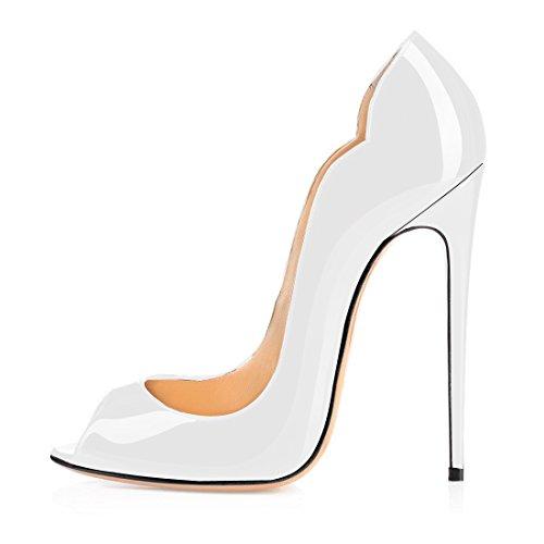 Soireelady Damen Weiß Hochzeitskleid Schuhe,Peep Toe Pumps,Damen Modeschuhe EU41