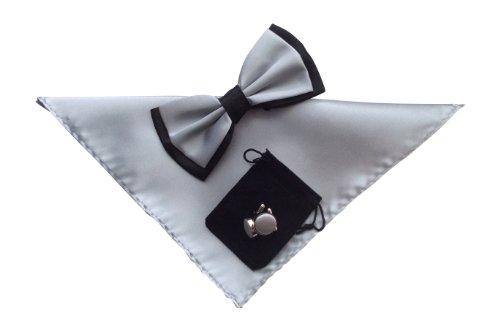 Snob Sock - Hommes Nœuds papillons en 35 couleurs différentes. (gris argent et noir 28)