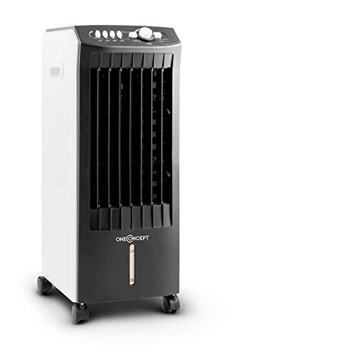 oneConcept MCH-1 V2 - Enfriador de aire 3 en 1, Ventilador y humidificador, Tanque de 7 litros extraíble, Flujo de 360 m³/h, 3 modos de viento, Oscilación horizontal, Temporizador, Carbón