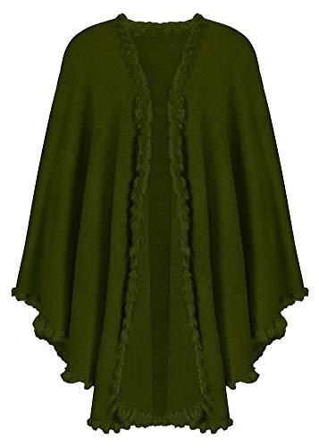 Das Kostümland Dirndltuch Strick Stola mit Fellbesatz - Dunkelgrün