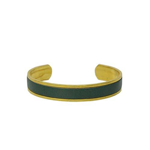 名入れ 真鍮 ヌメ革 バングル ブレスレット 刻印付き 指輪 メンズ レディース レザー ペアバングル brass プレゼント ギフト (グリーン, M)