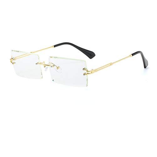 Yojued Rechteckige Retro-Sonnenbrille für Damen und Herren, Mode, Vintage, kleine quadratische Brille, randlos, Rahmen, getönte Gläser, UV400 Schutz, Klassisch, Weiß