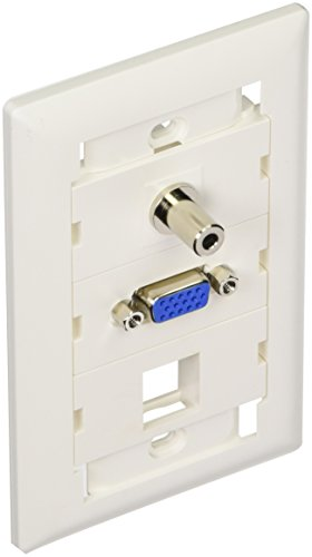 NTW Customizable Unimedia Wall Plate with personizable ID tag - VGA AND 3.5MM AUDIO PASS THROUGH - 3UNC-V35B