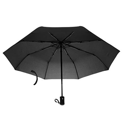 dailymall Winddichte Regenschirm Taschenschirm Golfschirm Partnerschirm Auf-Zu Automatik, Drei Falten, Farbwahl - Schwarz