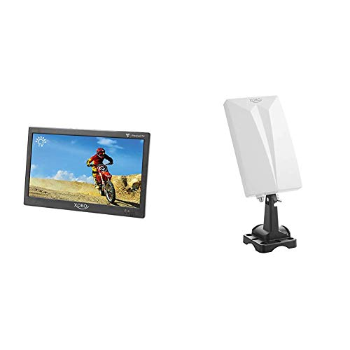 Xoro PTL 1050 25,6 cm (10.1 Zoll) Tragbarer DVB-T/T2 Fernseher inkl. 6 Monate freenet TV Guthaben & HAN 600 DVB-T2 aktive Kombo Antenne mit eingebautem Verstärker, weiß