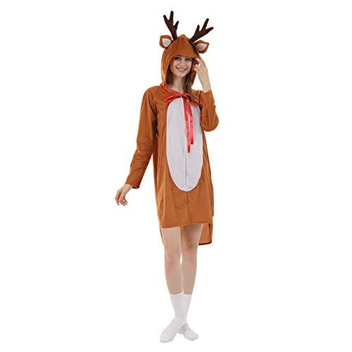Nonebranded Traje de alce navideño, pijama de alce lindo, vestido lindo de fiesta de disfraces de carnaval navideño cosplay, adecuado para mujeres