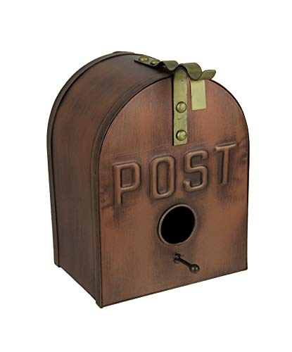 Things2Die4 Copper Finish Metal Mailbox Wall Mounted Birdhouse