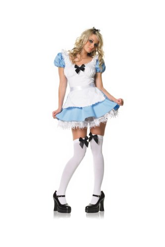 Leg Avenue Alice-Kostüm mit Strümpfe und Schleife, 1 Stück