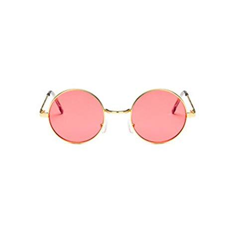 YUFUD Gafa de sol Gafas de sol redondas Mujer Lente de marco de metal vintage Gafas de sol de sombra colorida UV400 G