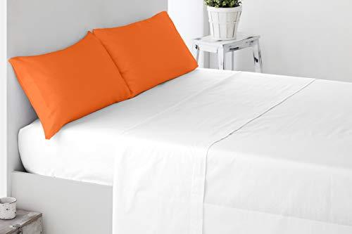 Miracle Home Funda Almohada, Suave y Cómoda, Dos Piezas, Algodón 50% Poliéster, Naranja, 150 cm