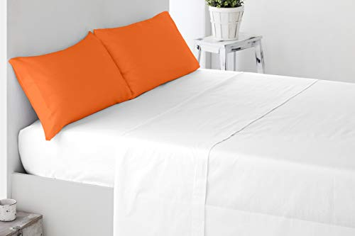 Miracle Home Lot de 2 taies d'oreiller en coton 50 % polyester Orange 135 cm