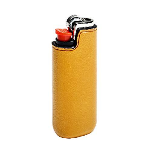 IL BUSSETTO Feuerzeug Ledertasche für Bic Mini Handgefertigt auf Holzform Handgemaltes Pflanzlich Gegerbtes Leder mit Unsichtbaren Nähten und Konstruktionslinien. (Ochre)