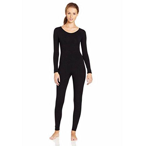 Body Femmes Collant Manches Longues Col U Costume Danse Bodysuit Justaucorps Cosplay Helloween - Noir, M