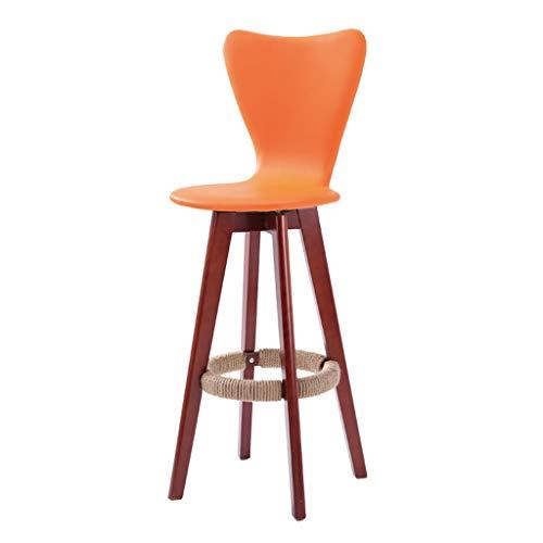 Guo shop- Simple, bois massif, peut être tourné Coussin en cuir artificiel, tabouret foncé Legs Bar Chaise haute Creative Chaise en bois de style européen Vintage Tabouret de bar Hauteur 71cm Bonne ch
