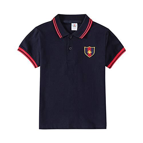 Boys' School Uniform Polo Shirt Short-Sleeve Cotton Polo T-Shirt(Black)