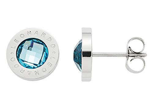 Jewels by Leonardo Damen-Ohrstecker Matrix hellblau, Edelstahl mit facettiertem Farbglasstein und Leonardo-Gravur, Größe (B/H/T): 10/10/14 mm, 015785