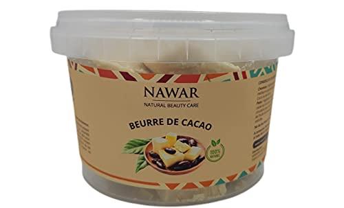 Beurre de Cacao BRUT 250 g - NAWAR-, non décoloré, non désodorisé, non raffiné origine Côte divoire 100% naturel