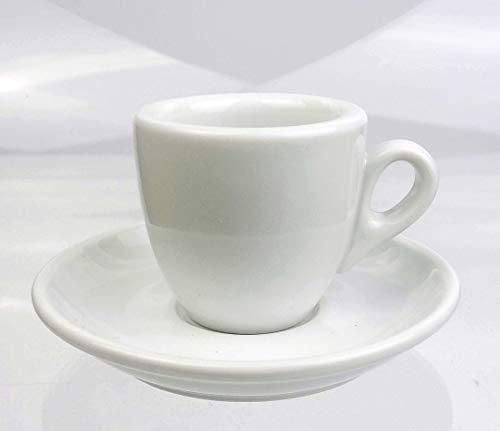 Moka Consorten Extra dickwandige Espressotassen | 0,8 cm Tassenwand | Füllmenge (bis zur Oberkante): 56 ml | weiß | 6 Tassen & 6 Untertassen