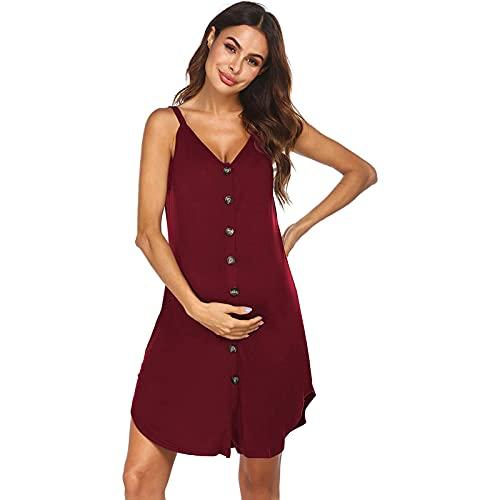 GAOHONGMEI Vestido largo para mujer, con hombros descubiertos, botones para dormir, sin mangas, verano, informal, para la playa, color rojo y XXL
