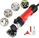 SUNCOO Professional Sheep Shears 350W, Farm Electric Clippers for Goats, Alpaca, Llamas, Horse, Cattle, Large Dog Farm Livestock, Heavy Duty Potable Animal Hair Fur Grooming Cutter (Red)