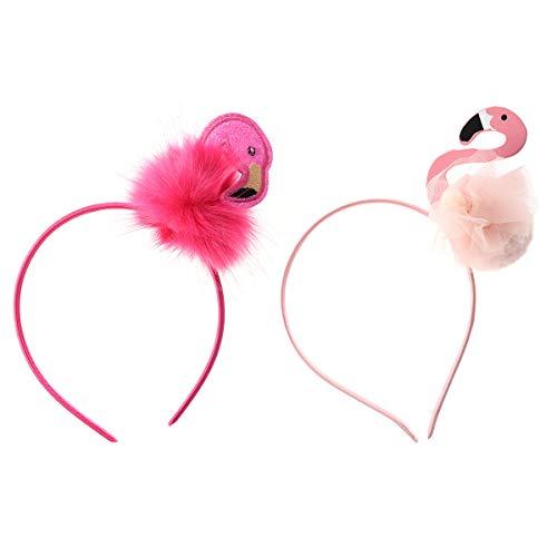 Amosfun 2 Unids Flamingo Diadema Fiesta Tropical Decoración Flamingo Tocado Aro de Pelo Luau Favores de Fiesta Hawaiana para niños Niños