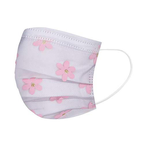 Adult Net Yarn Flower Print 4-Layer Disposable Face Masks Breathable Non-Woven Safety Mask with Elastic EarLoop for Outdoor