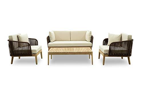 Stilè - Juego de sofá para exterior de jardín con dos sillones y mesa