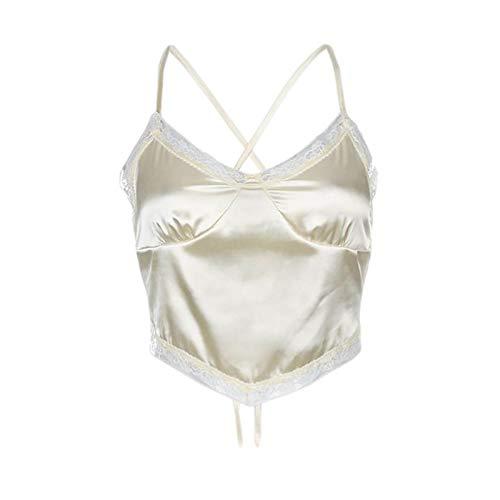 Cucheeky Camisola con cuello en V para mujer Chaleco con cordones de moda Espalda abierta Camisola con cuello en V de satén con cordones