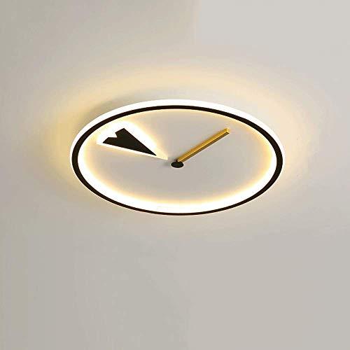 WANQINV Lámpara de techo LED incrustada creativa y moderna 1.97in 40W-56W Three-Color Dimagen Strip de silicio de la tira de silicona Negro Lámpara de techo redonda Adecuado para sala de estar, dormit