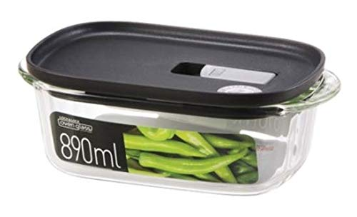 LOCK & LOCK Frischhaltedosen aus Glas – 3er Vorratsdosenset – eckig – mit Deckel für Backofen, Mikrowelle & zum Einfrieren – 890 ml