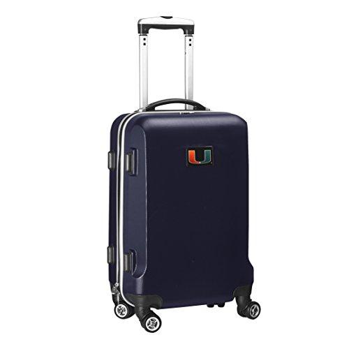 Denco NCAA Miami Hurricanes Carry-On Hardcase Luggage Spinner, Navy