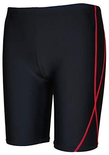 【Asbrio】水着 競泳 スクール ミドルスパッツ UPF50+ 撥水加工 80〜170cm (レッド, 80)
