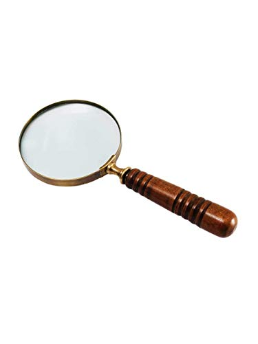 10X Handheld Magnifying Glass Antique Wooden Handle Magnifier Glass for Reading Book, Inspection, Coins, Rock, Hobby, Toy, Map, Crossword Puzzle by Deconoor, Brown-Brass