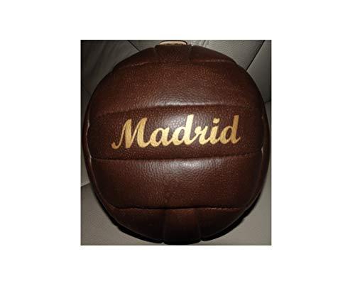 Bavaria Home Style Collection- Fussball/Ball/braun/Gr. 5 / Nostalgieball/Nostalgie Ball/Retroball im Leder Look mit Ziernieten und goldenem Print Schriftzug Madrid