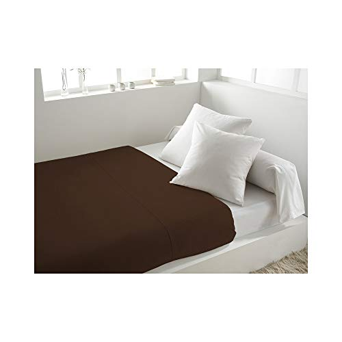 Soleil d'Ocre Drap plat en coton 57 Fils uni 240x290 cm chocolat