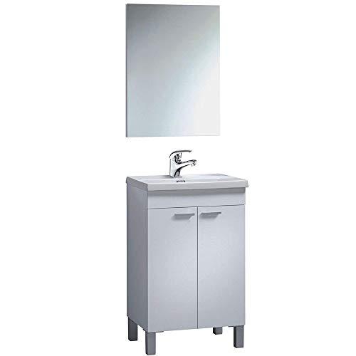 Mueble Lavabo con Espejo + Lavabo CERÁMICO + Grifo Incluido, Mod Odeon
