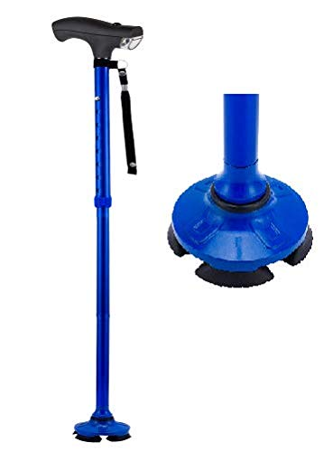 Assistive Technology Services SteadyCane Self-Standing Cane 4 Feet and Light Hurry Before They are Gone - Best Walking Cane - As Seen On TV Cane - Foldable - Adjustable - Wrist Strap (Blue)