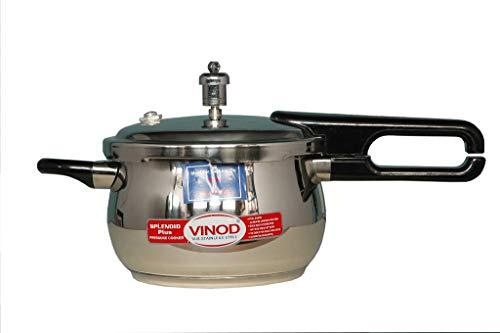 Vinod V-2.5L Splendid Plus Handi Stainless Steel Pressure Cooker, 2.5-Liter