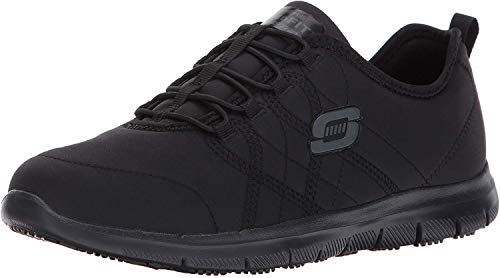 Skechers for Work Women's Ghenter Srelt Work Shoe, Black, 6.5 M US