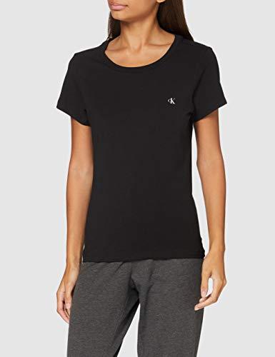 Calvin Klein S/s Crew Neck 2pk Top de Pijama, Negro (Black 001), L para Mujer