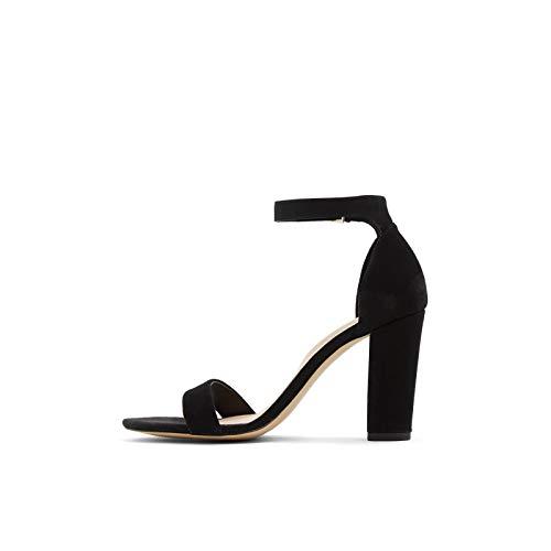 ALDO Women's Jerayclya Ankle Strap, Block Heel Sandal, Black Suede, 5
