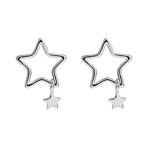 Lindos Mini pendientes de estrella diminutos de plata para mujer, accesorios para la oreja colgantes de moda para niña, joyería