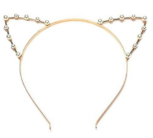 Demarkt® Accessoire Cheveux pour la Tete Serre avec Mignon d'oreille de Chat/Couleur de l'or Elastic Stylish Hairband pour Sports ou Daily Wear