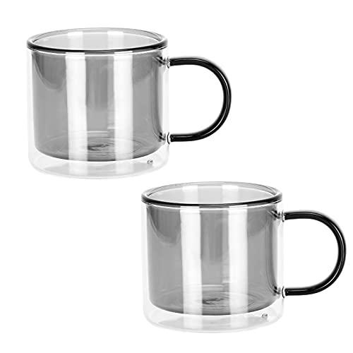 Juego de tazas de doble pared para café, café y té, 260 ml, color verde
