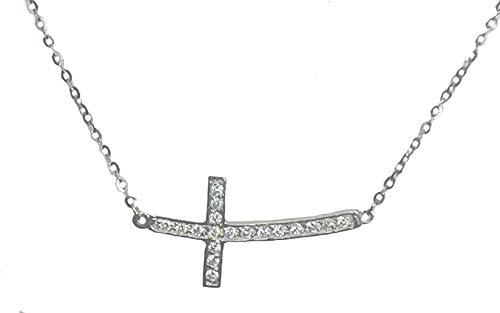 Atalaya Collar Mujer Cadena Colgante Cruz Plata de Ley 925, con circonitas, Ideas Regalo Navidad, Pareja, San Valentin
