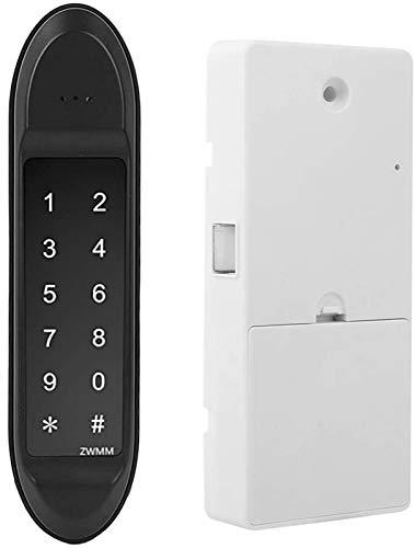 Cerradura puerta, cerradura electrónica sin llave con contraseña inteligente tarjeta RFID, cerradura teclado táctil aleación zinc USB, con perno redondo y función contraseña confusión, para armario,