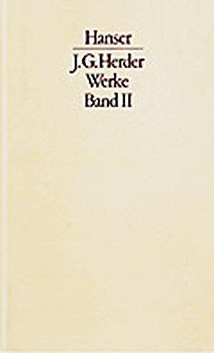 Werke, 3 Bde., Bd.2, Herder und die Anthropologie der Aufklärung