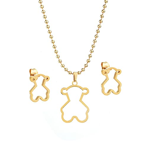 TTGE Fashion Glossy Simple Hollow Bear Titanium Steel Jewelry Set Necklace Earrings for Women Gold Plated Luxury Jewelry Wholesale