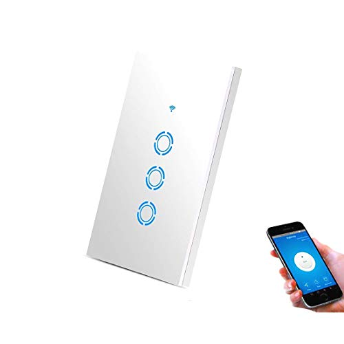 WiFi Touch Light Switch Glass Panel Wireless Remote Control by Mobile APP Anywhere Compatible,Timing Function No Hub Required