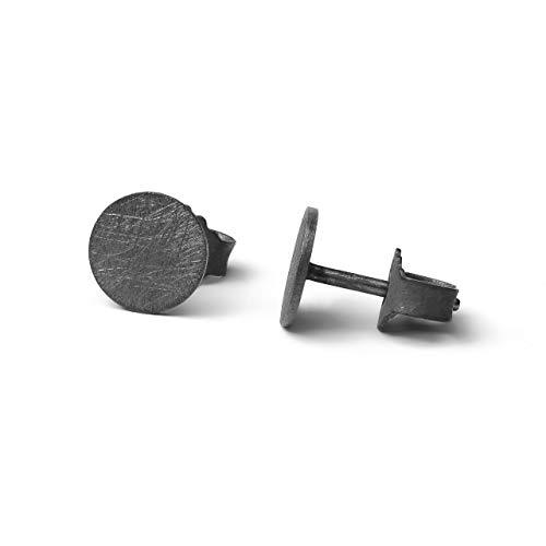 Ohrringe Silber 925 | echte Handmade Ohrstecker schwarz rund 6mm Eis-Matt | perfektes Geschenk für Damen, Herren, Mädchen | kleine Silber Ohrringe Set black | Ohrringe schwarz Damen